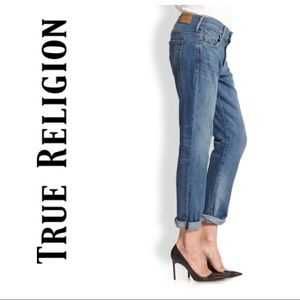 True Religion Audrey Slim Boyfriend Jean Ink sz 27